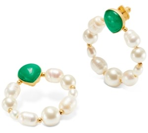 Kate Spade Gold-Tone Semi-Precious Stone & Imitation Pearl Door Knocker Earrings