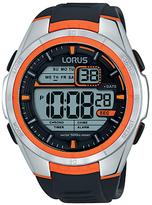 Lorus R2311lx9 Digital Day Date Silicone Strap Watch, Black