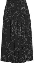 Carven Pleated Printed Crepe Skirt