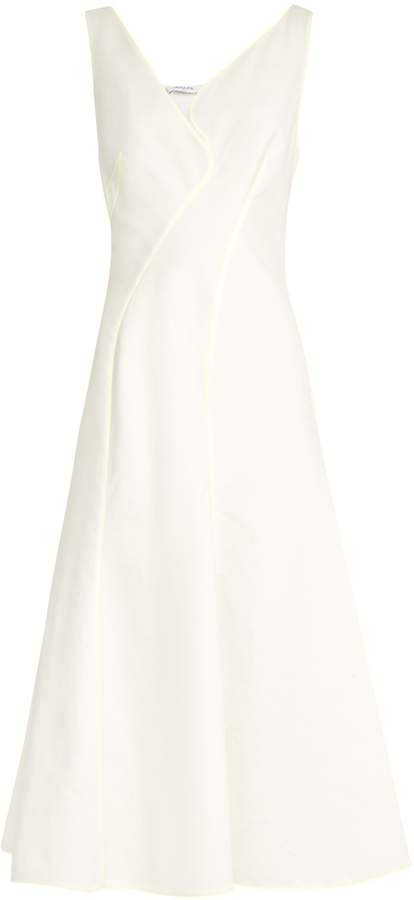 Thierry Mugler V-neck abstract-panel cotton dress