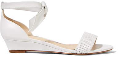 Alexandre Birman Atenah Bow-embellished Leather Wedge Sandals - White