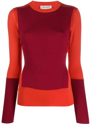 Alexander McQueen Colour-Block Panelled Jumper