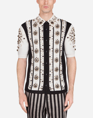 Dolce & Gabbana Polo Sweater In Inlaid Silk With Studs
