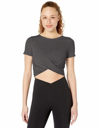 Core 10 Amazon Brand Women's Plus Size Soft Pima Cotton Stretch Twist Front Cropped Yoga T-Shirt