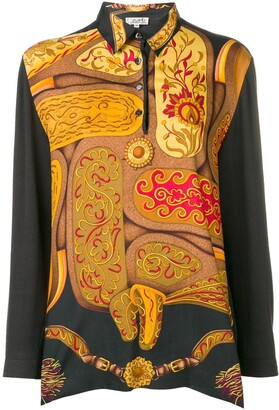 Hermes Pre-Owned abstract longsleeved polo shirt