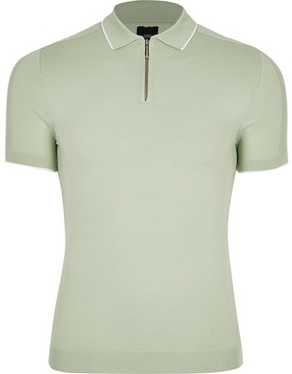 River Island Green half zip muscle fit knitted polo top