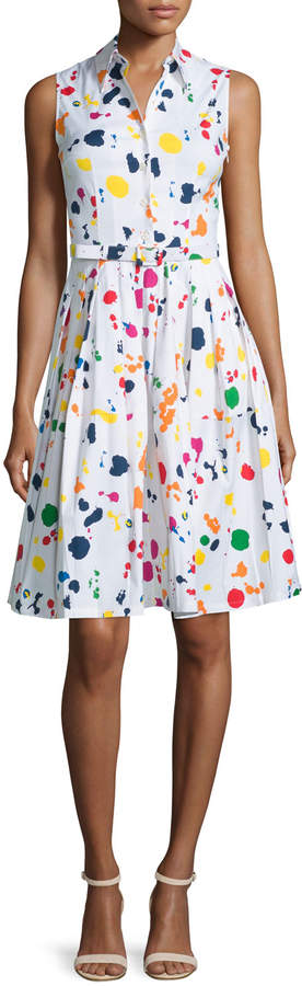 Samantha Sung Claire Splatter-Print Sleeveless Shirtdress, White