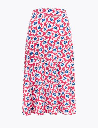 Marks and Spencer Jersey Floral Knee Length A-Line Skirt