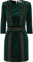 Pierre Balmain Embellished Stretch Cotton-blend Velvet Mini Dress - Emerald