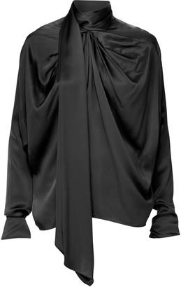 Dodo Bar Or Michaella Draped Silk Tie-Neck Top