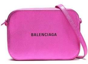 Balenciaga Logo-print Metallic Textured-leather Shoulder Bag