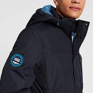 Jack and Jones navy hooded padded jacket