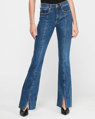 Express High Waisted Denim Perfect Seamed Front Slit Bootcut Jeans