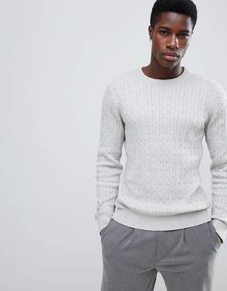 Selected crew neck cable knitted jumper in light grey