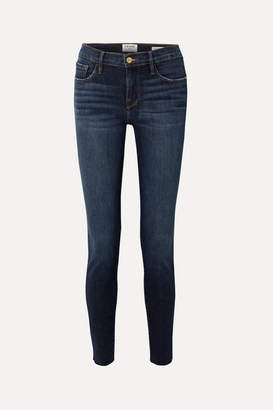 Frame Le Skinny De Jeanne Raw Edge Distressed Mid-rise Jeans - Dark denim