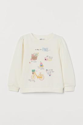 H&M Puff-sleeved Sweatshirt - White