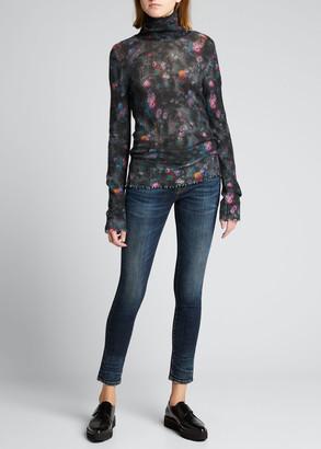 R 13 Slim Floral Turtleneck Sweater