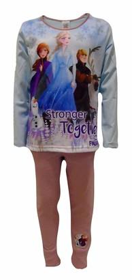 Disney Girls/Kids Frozen 2 Stronger Together Childrens Pyjamas/Pyjama Set Age 7-8 Years Blue/Pink