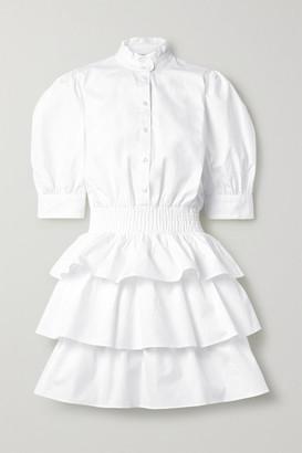 MICHAEL Michael Kors Tiered Shirred Cotton-poplin Mini Dress - White