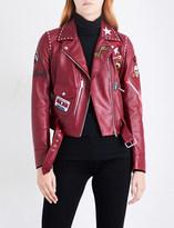 Belstaff Patch appliqué leather biker jacket