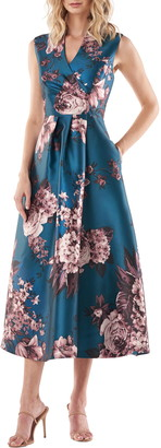 Kay Unger Galina Sleeveless Floral Print Gown