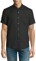 James Perse Linen Short-Sleeve Oxford Shirt, Black