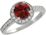 Gem Stone King 1.30 Ct Round Red Garnet White Diamond 14K White Gold Ring