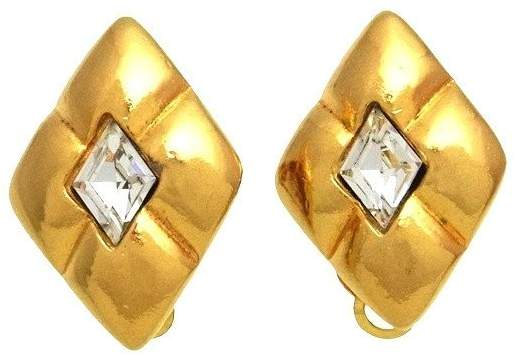 Chanel CC Logo Gold Tone Metal Rhinestone Earrings
