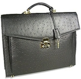 Fontanelli Black Ostrich Stamped Calf Leather Briefcase