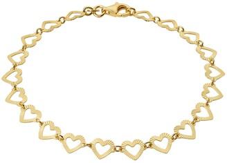 Primavera Gold Over Sterling Silver Textured Heart Linked Chain Bracelet