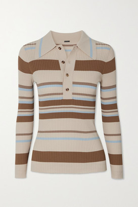 Dodo Bar Or Penny Striped Stretch-knit Polo Shirt - Brown