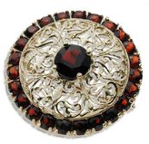 Tatitoto Gioie Women's Brooch in 18k Gold with Garnet, 8.4 Grams