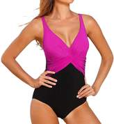 LAPAYA Women's Bathing Suits Long Torso Padded V-neck Colorblock 1 Piece Swimsuit