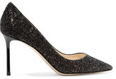 Jimmy Choo Romy 85 Glittered Leather Pumps - Black