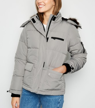 New Look Faux Fur Short Puffer Jacket