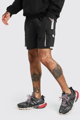 boohoo Mens Black Shell 3D Cargo Pocket Short With Panels, Black