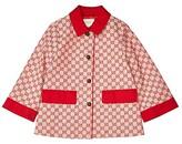 Gucci Kids GG Canvas w/ Gabardine Caban (Big Kids) (Gardenia/Hibiscus Red) Girl's Clothing
