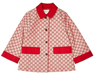 Gucci Kids GG Canvas w/ Gabardine Caban (Big Kids) (Gardenia/Hibiscus Red) Girl's Clothing