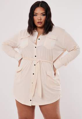 Missguided Plus Size Cream Utility Shirt Dress