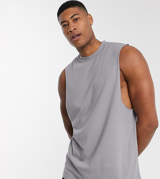 ASOS DESIGN Tall organic relaxed sleeveless t-shirt with dropped armhole in grey