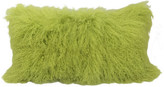 """Homeroots 17"""" Lime Green Genuine Tibetan Lamb Fur Pillow With Microsuede Backing"""