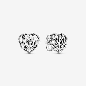 Pandora Family Tree Heart Stud Earrings