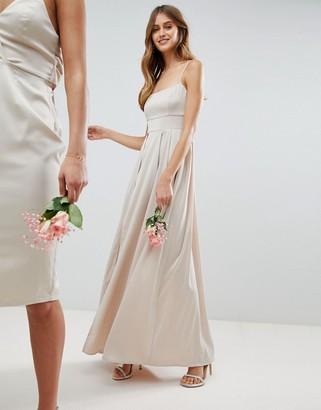 Asos Design DESIGN satin square neck cami strap maxi dress-Cream
