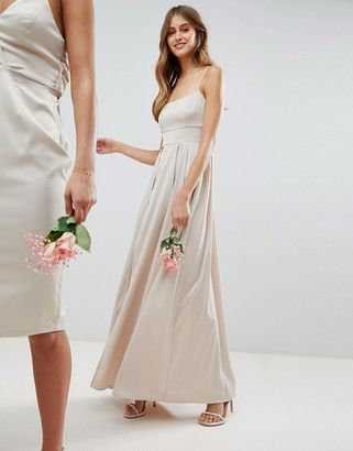 ASOS DESIGN satin square neck cami strap maxi dress
