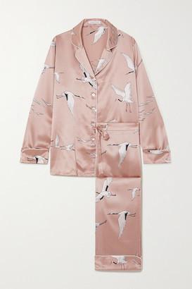Olivia von Halle Lila Printed Silk-satin Pajama Set - Pink