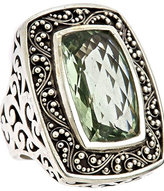 Green Amethyst Rectangle Cocktail Ring