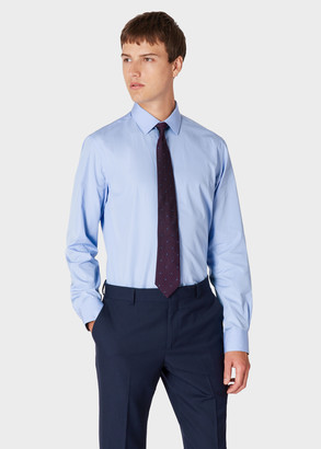 Paul Smith Men's Tailored-Fit Sky Blue Cotton Shirt With 'Signature Stripe' Cuff Lining
