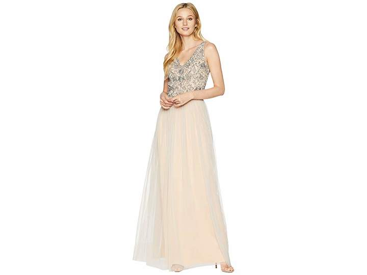 Adrianna Papell Long Gown with Beaded Bodice and Tulle Skirt