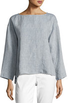 Eileen Fisher Yarn Dyed Linen Box Top, Chambray