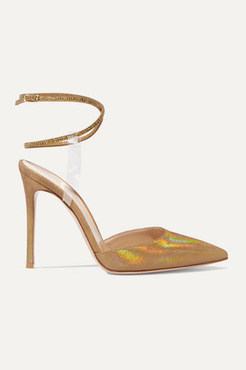 Gianvito Rossi 105 Pvc-trimmed Glittered Faille And Crystal-embellished Suede Pumps - Gold